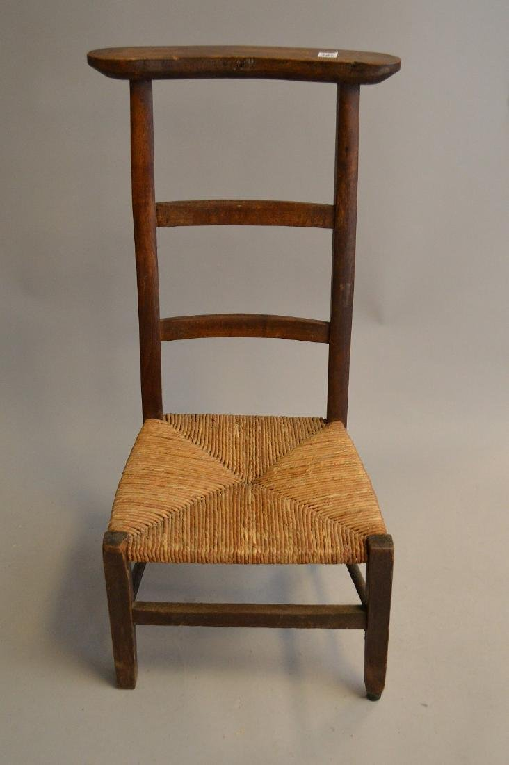 "Antique prayer chair, wood frame with rush seat, 34""h x - 2"