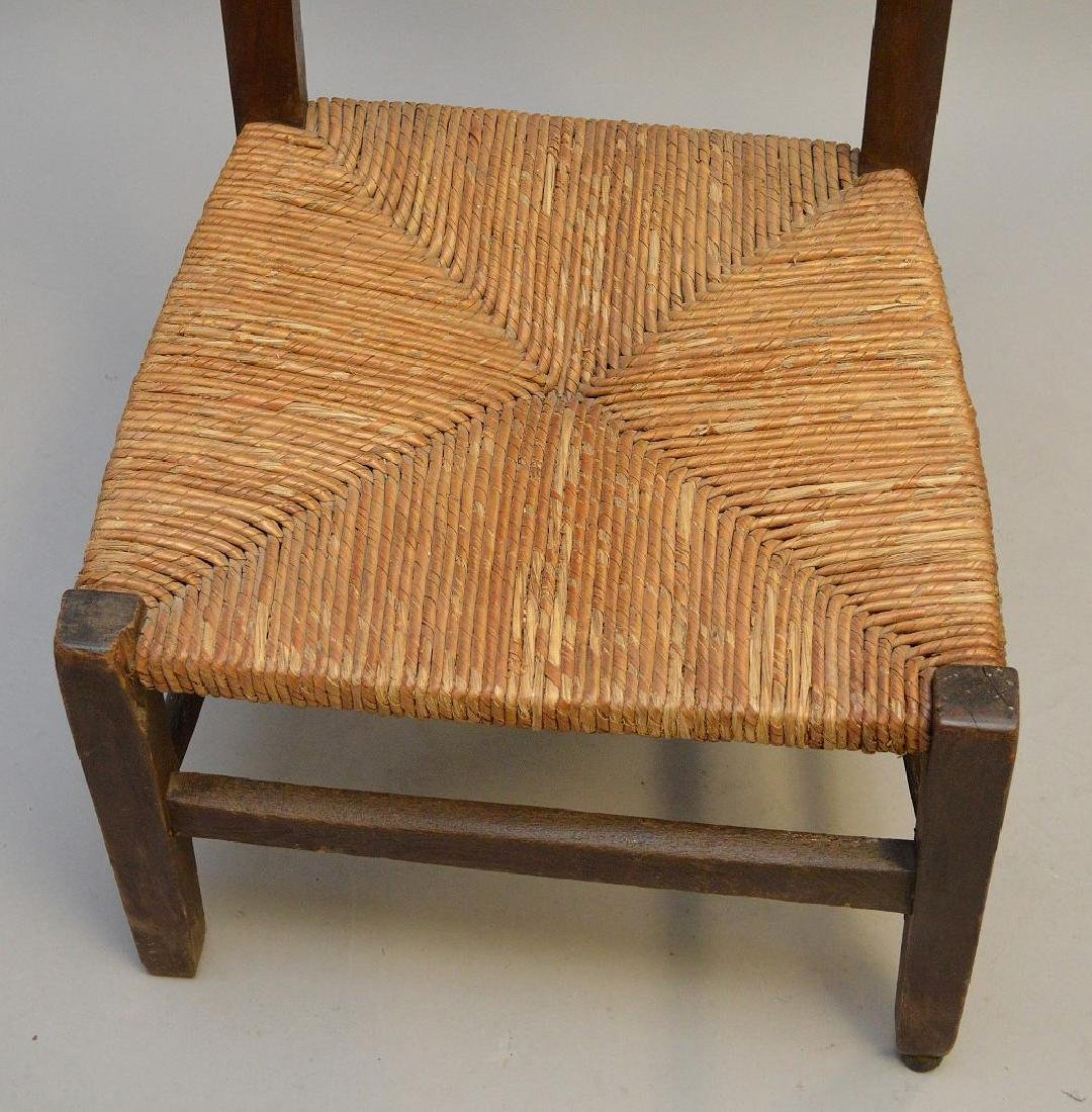 "Antique prayer chair, wood frame with rush seat, 34""h x - 4"