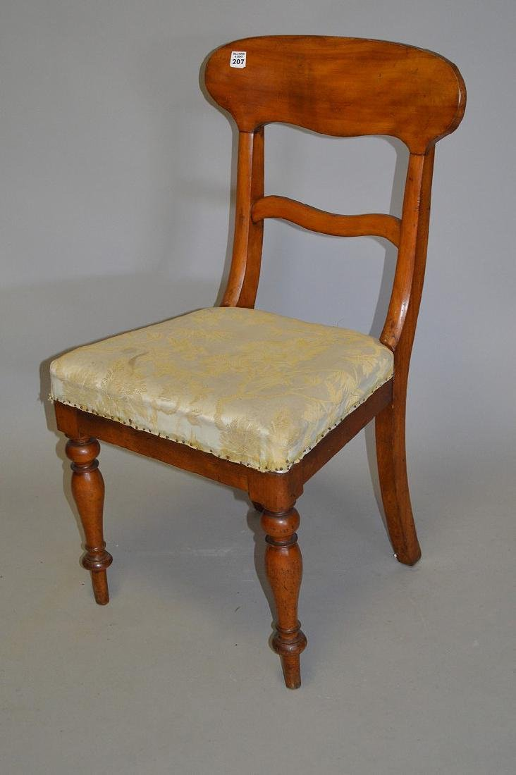 Fruitwood side chair with upholstered seat