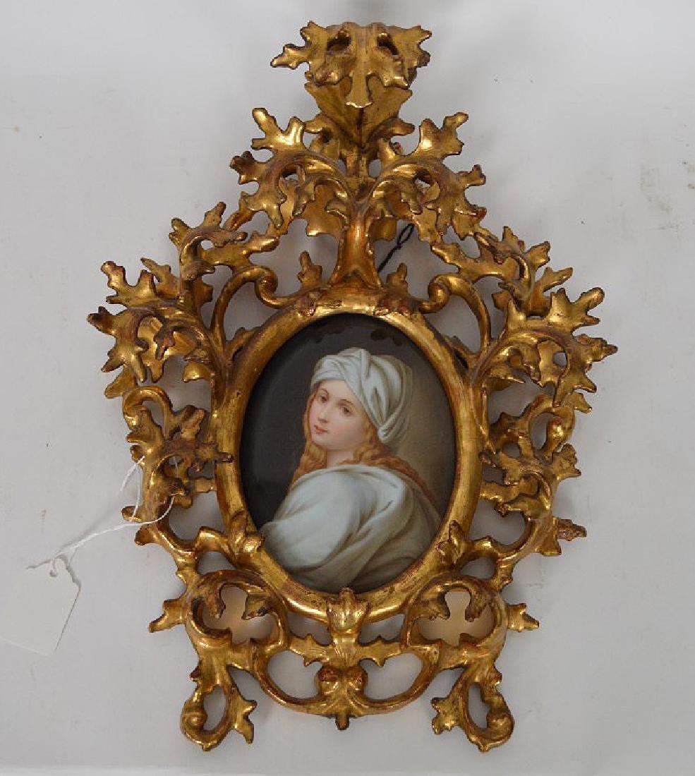 19th c. German porcelain hand painted portrait plaque