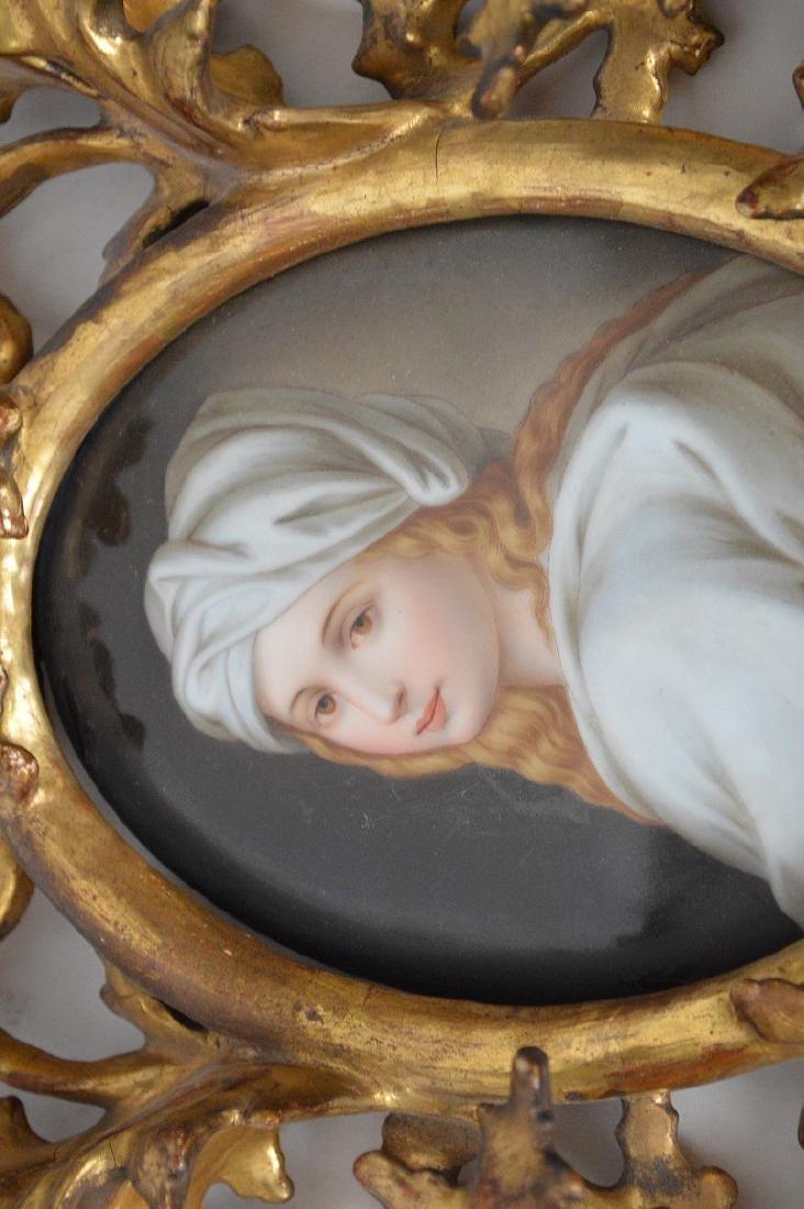 19th c. German porcelain hand painted portrait plaque - 3