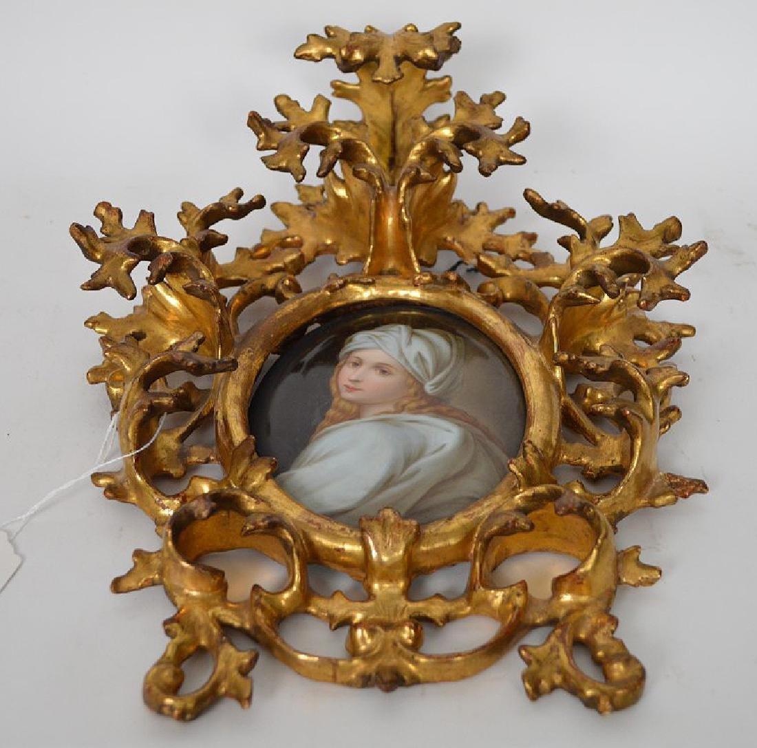 19th c. German porcelain hand painted portrait plaque - 5