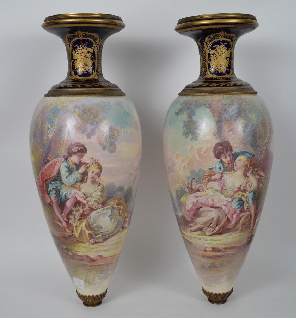 Pair Sevres hand painted Faience urns, signed Maxant, - 2