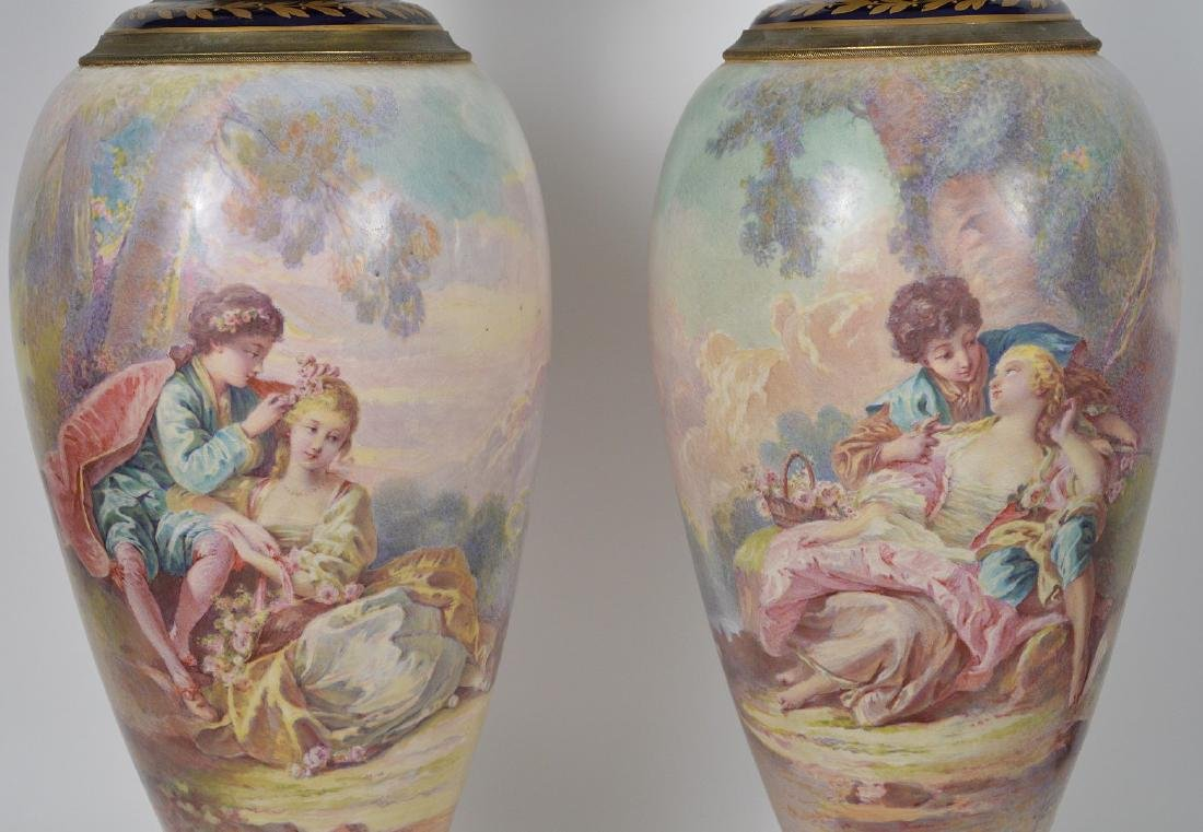 Pair Sevres hand painted Faience urns, signed Maxant, - 3