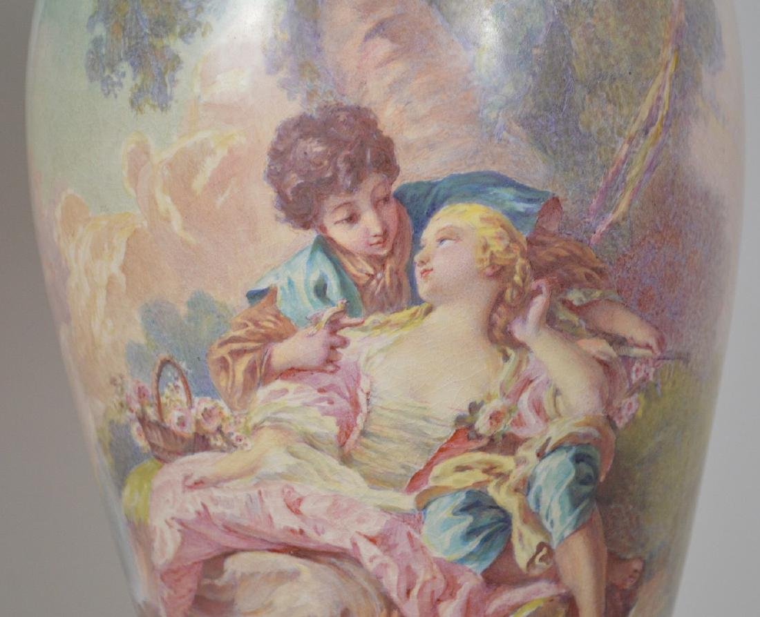 Pair Sevres hand painted Faience urns, signed Maxant, - 4