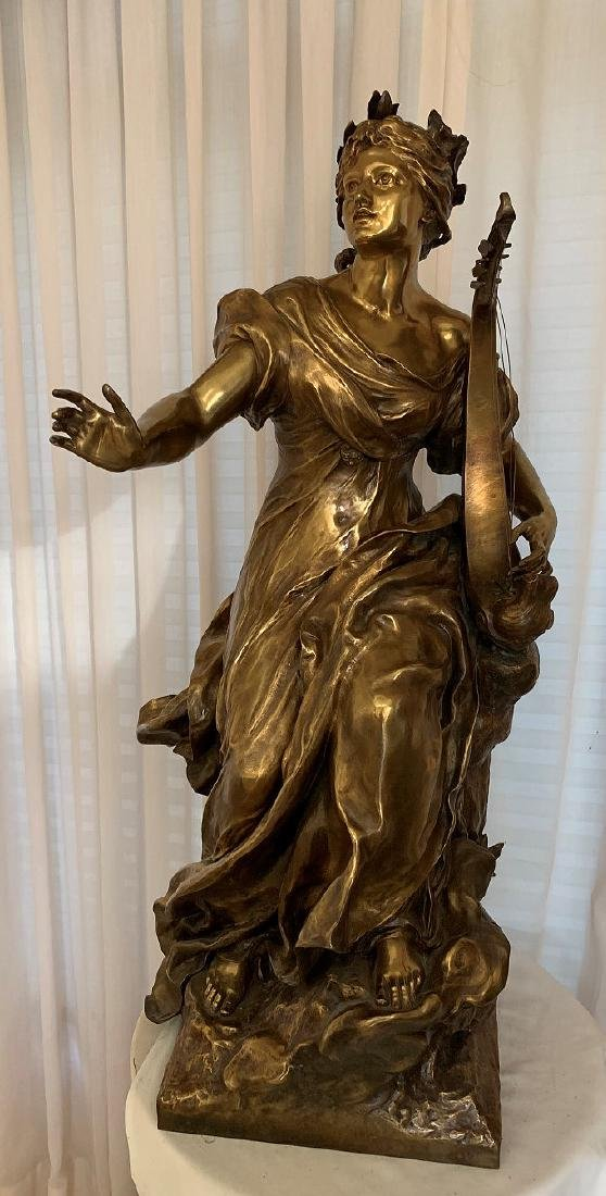 French Bronze Woman female standing with harp in