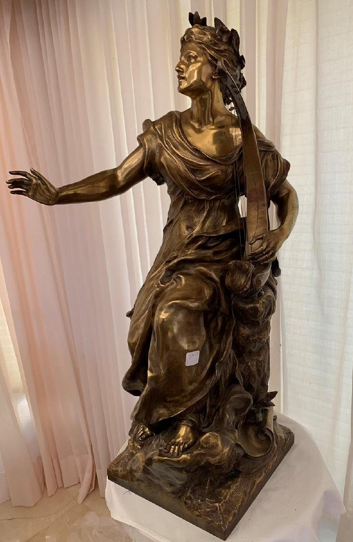 French Bronze Woman female standing with harp in - 2