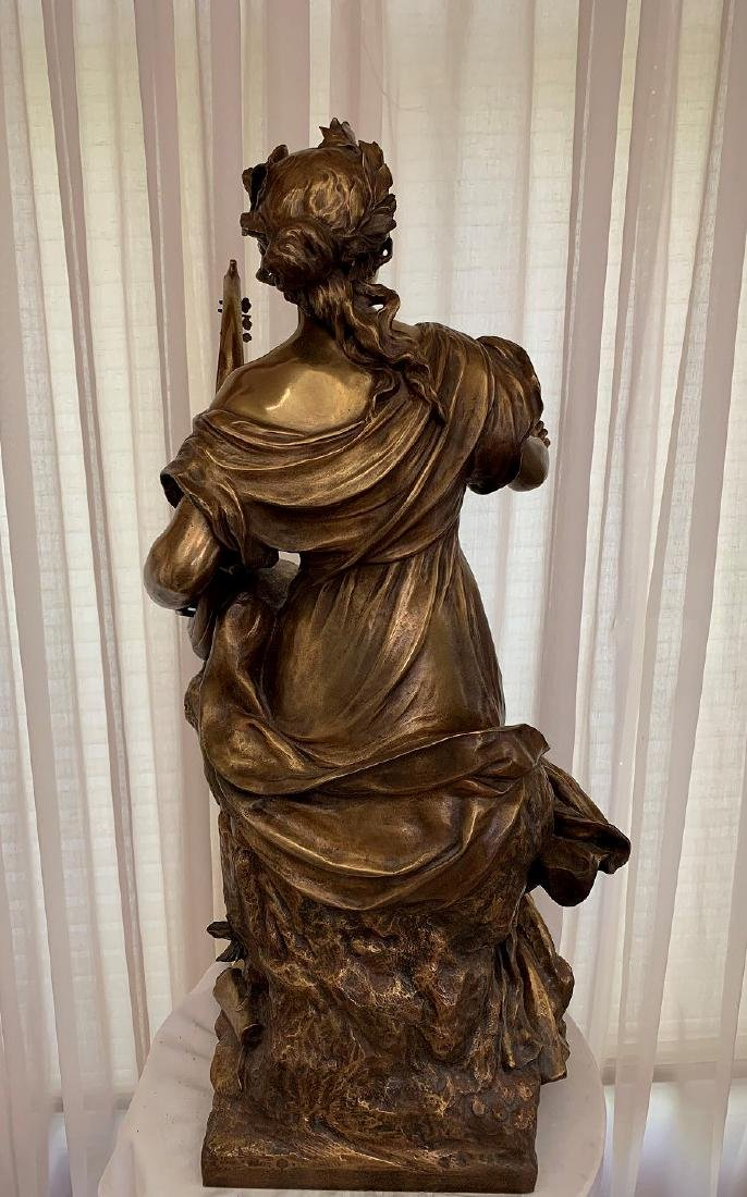 French Bronze Woman female standing with harp in - 4