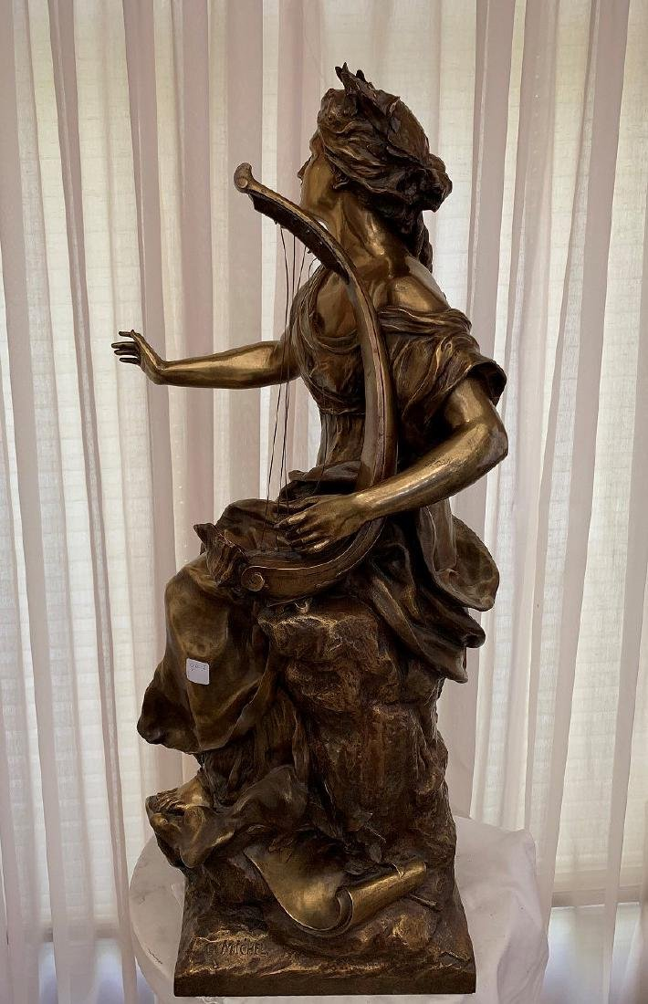 French Bronze Woman female standing with harp in - 6