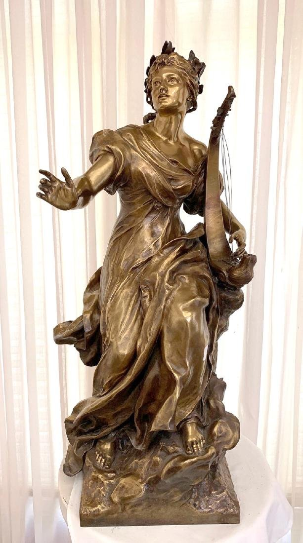 French Bronze Woman female standing with harp in - 7
