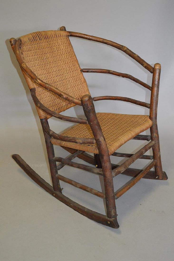 Hickory Rocker with splint woven back & seat
