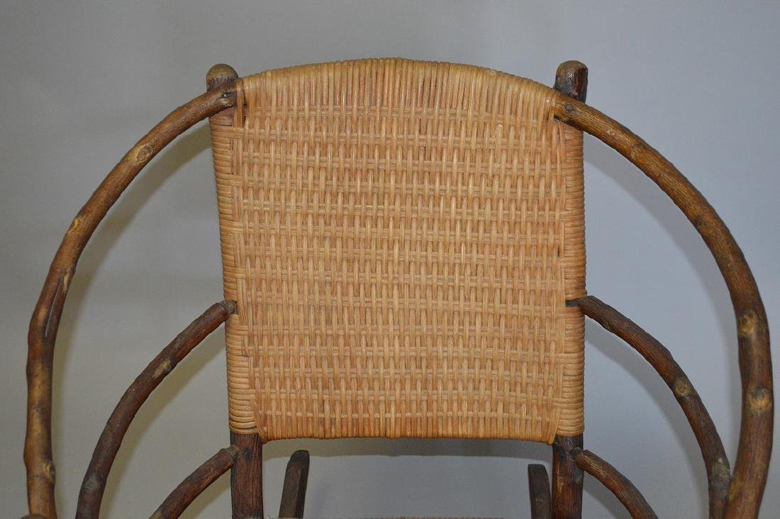 Hickory Rocker with splint woven back & seat - 3