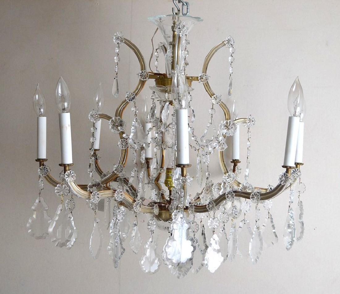 """Crystal 8 arm chandelier with prisms, approx., 24""""h x"""