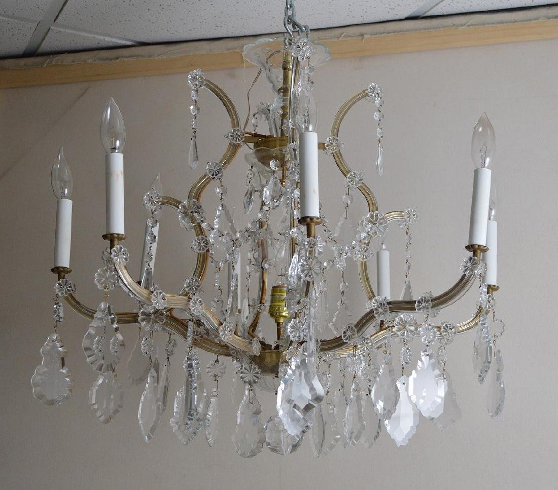"""Crystal 8 arm chandelier with prisms, approx., 24""""h x - 3"""