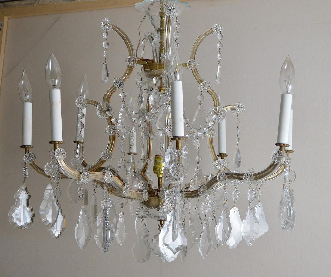 """Crystal 8 arm chandelier with prisms, approx., 24""""h x - 5"""
