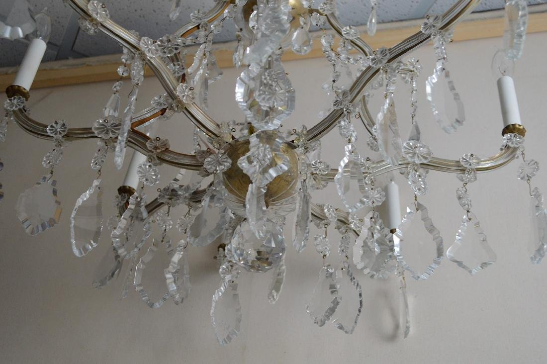 """Crystal 8 arm chandelier with prisms, approx., 24""""h x - 6"""
