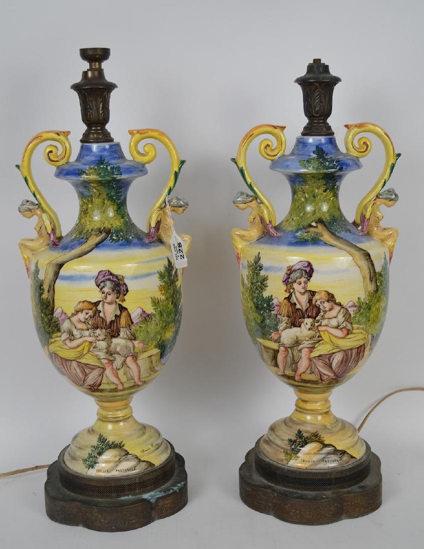 Pair Italian Majolica urn form lamps, peasant scenes,