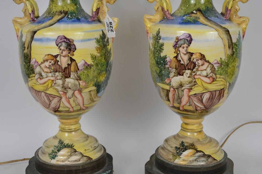 Pair Italian Majolica urn form lamps, peasant scenes, - 2