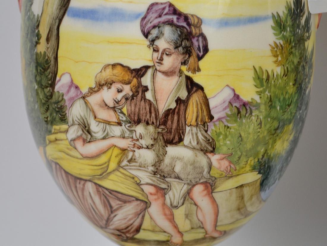 Pair Italian Majolica urn form lamps, peasant scenes, - 3