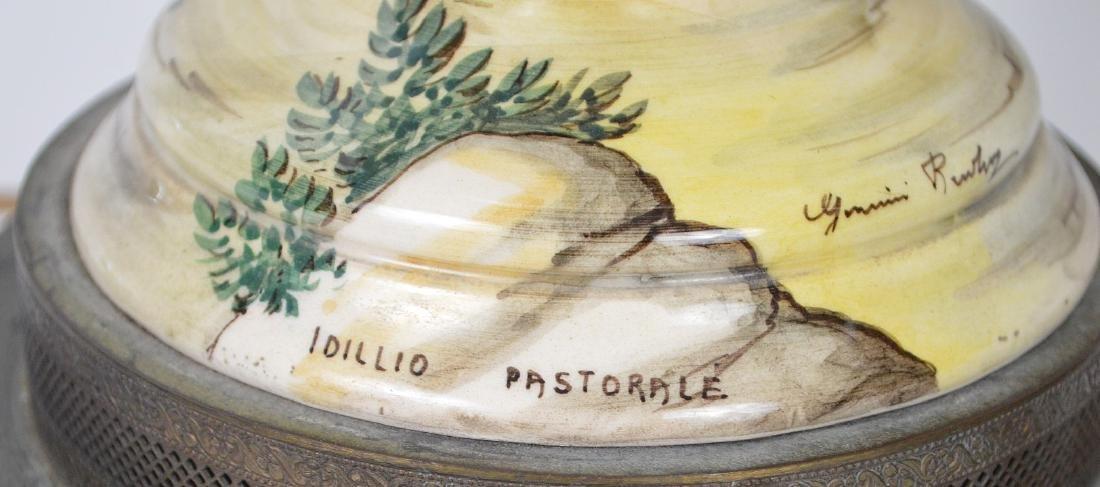 Pair Italian Majolica urn form lamps, peasant scenes, - 4