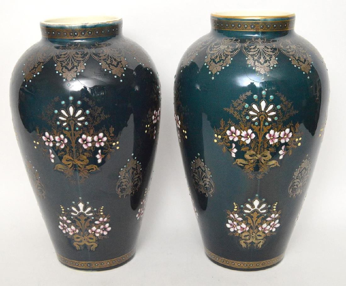Pair Boch Freres vases with silver inlay and enameled