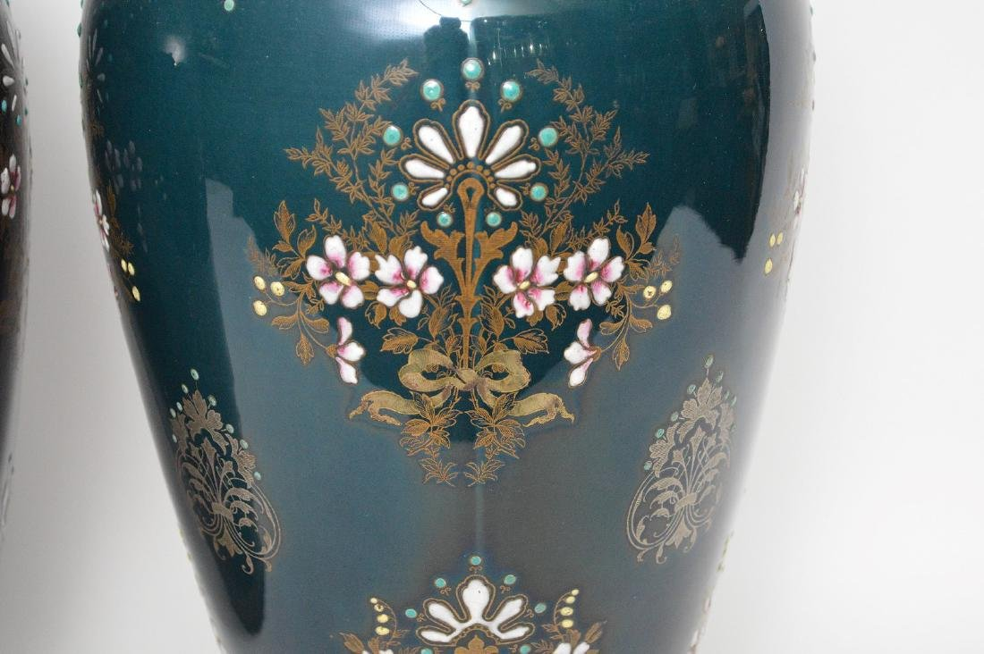 Pair Boch Freres vases with silver inlay and enameled - 2