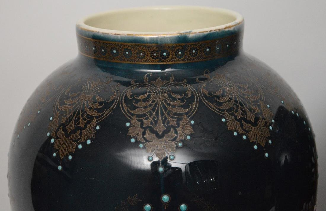 Pair Boch Freres vases with silver inlay and enameled - 3