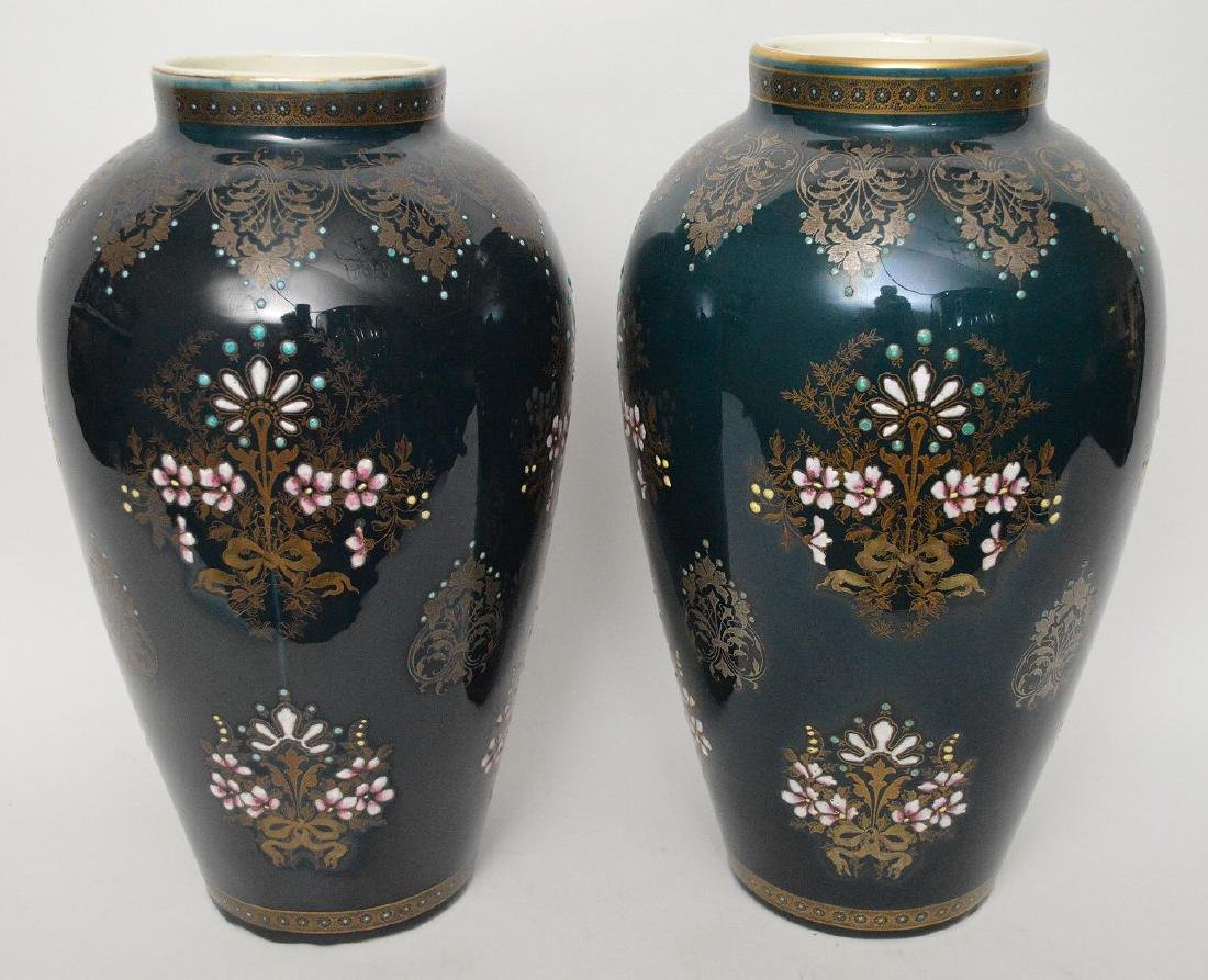 Pair Boch Freres vases with silver inlay and enameled - 4