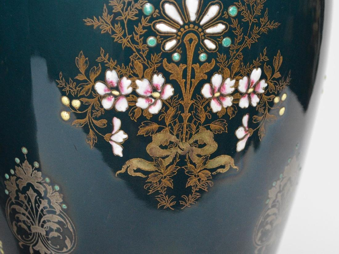 Pair Boch Freres vases with silver inlay and enameled - 5