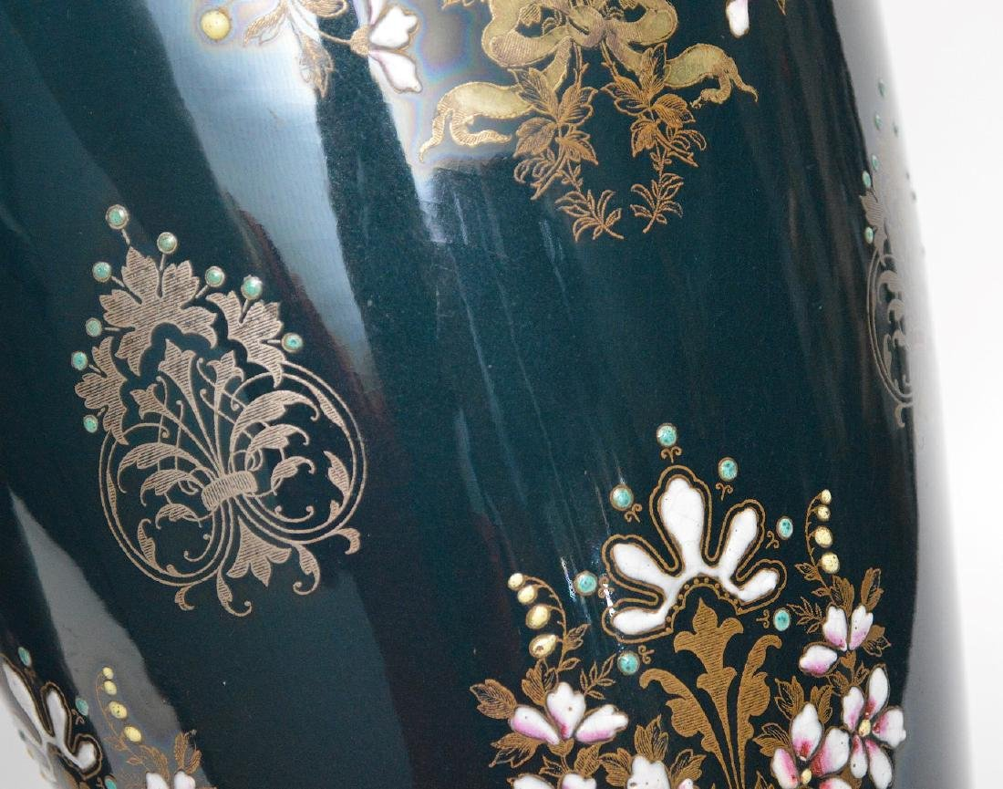 Pair Boch Freres vases with silver inlay and enameled - 6