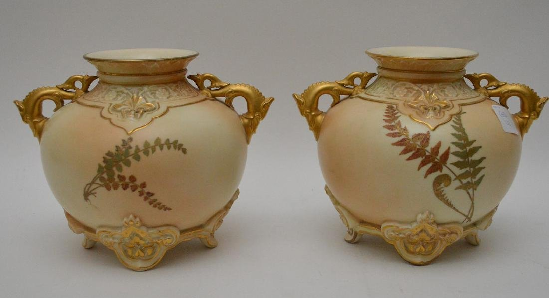 Pair Royal Worcester porcelain footed vases with gilded - 5