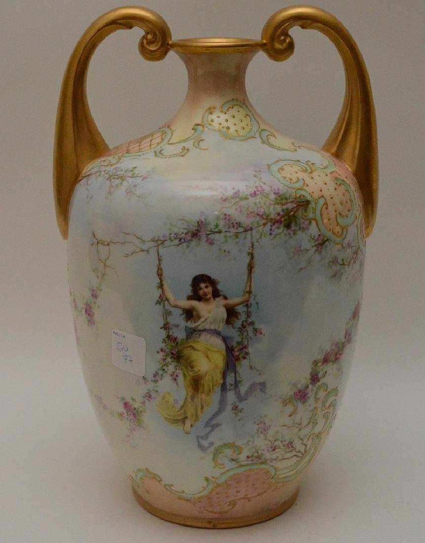 Vases hand painted maidens on swings with floral