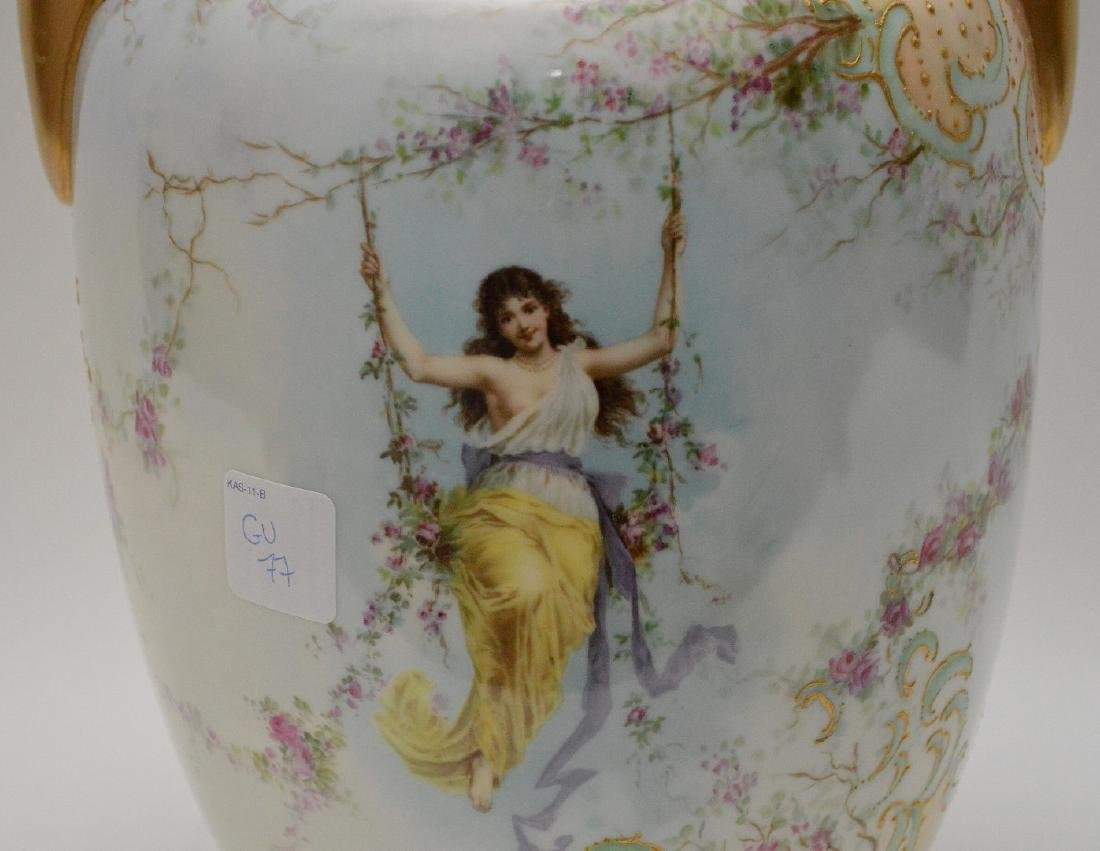 Vases hand painted maidens on swings with floral - 2