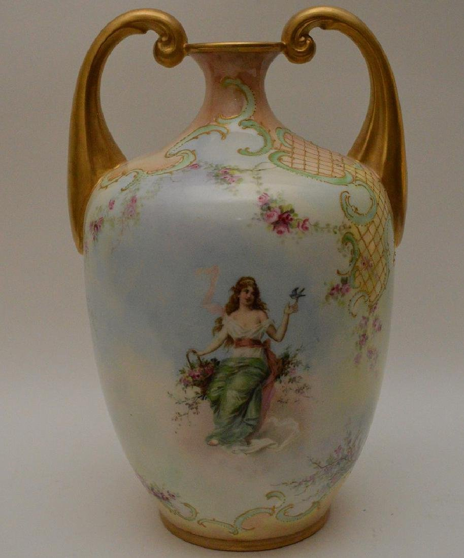 Vases hand painted maidens on swings with floral - 6