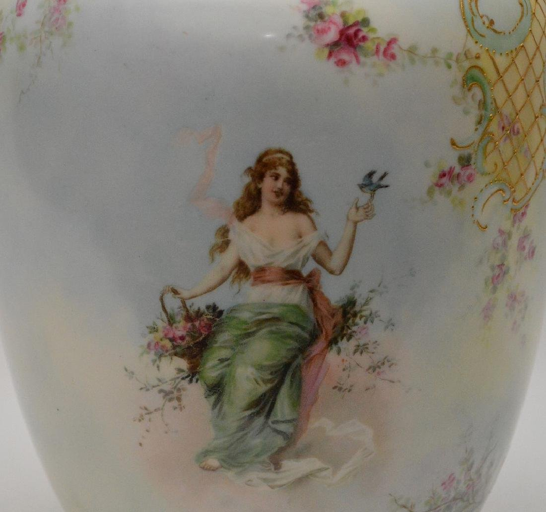 Vases hand painted maidens on swings with floral - 7