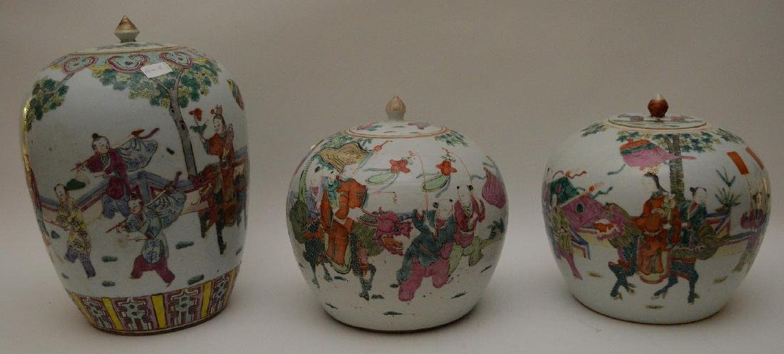 (3) Chinese Porcelain ginger jars, (one pair) children