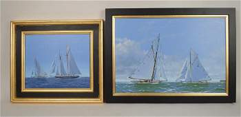 TWO paintings by James Miller, Yacht Race oil on