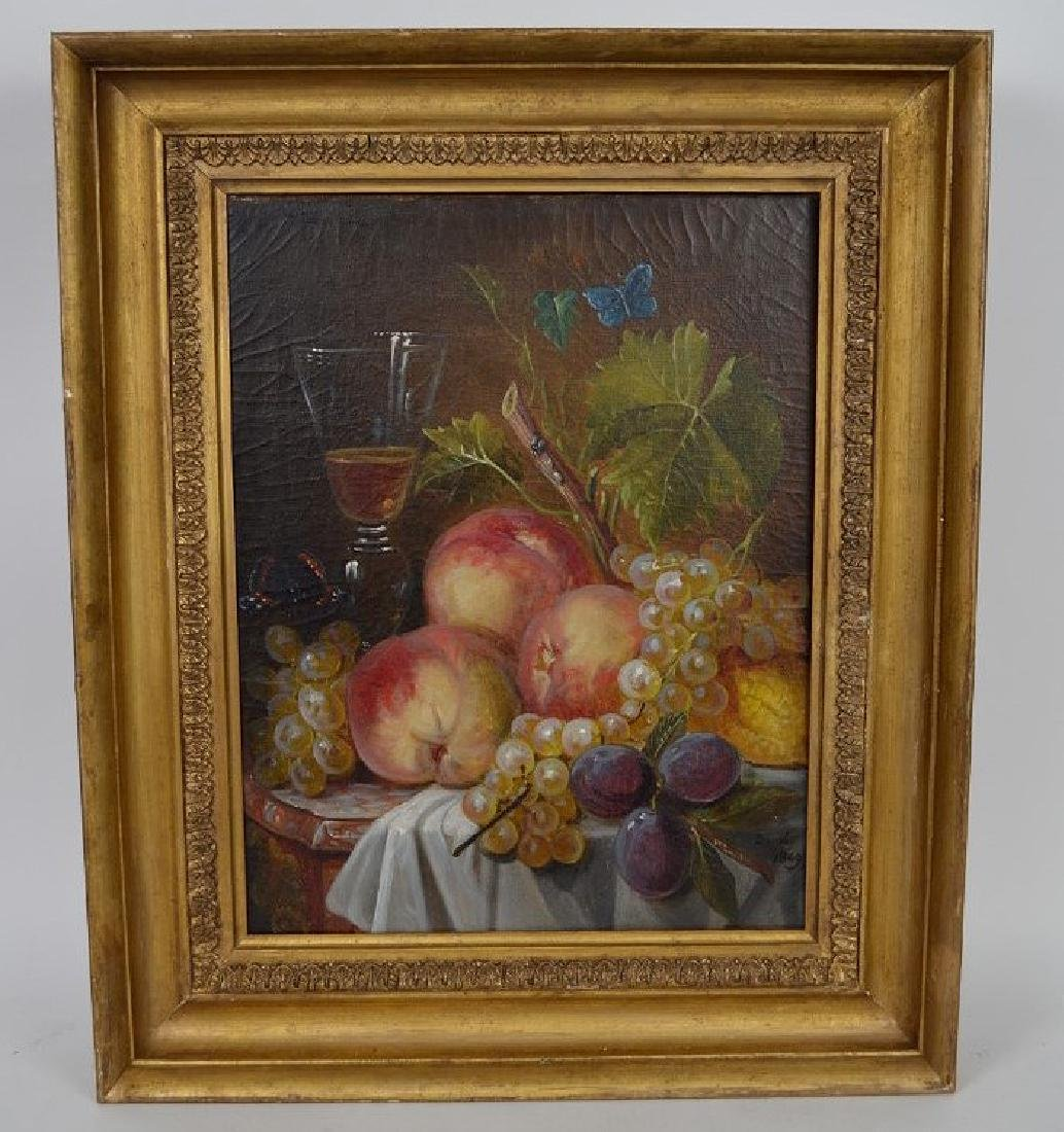 Still life painting by Durai, dated 1849, 16 x 13