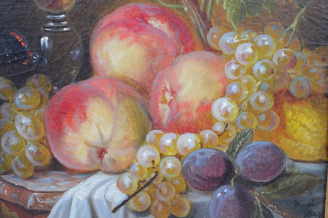 Still life painting by Durai, dated 1849, 16 x 13 - 3
