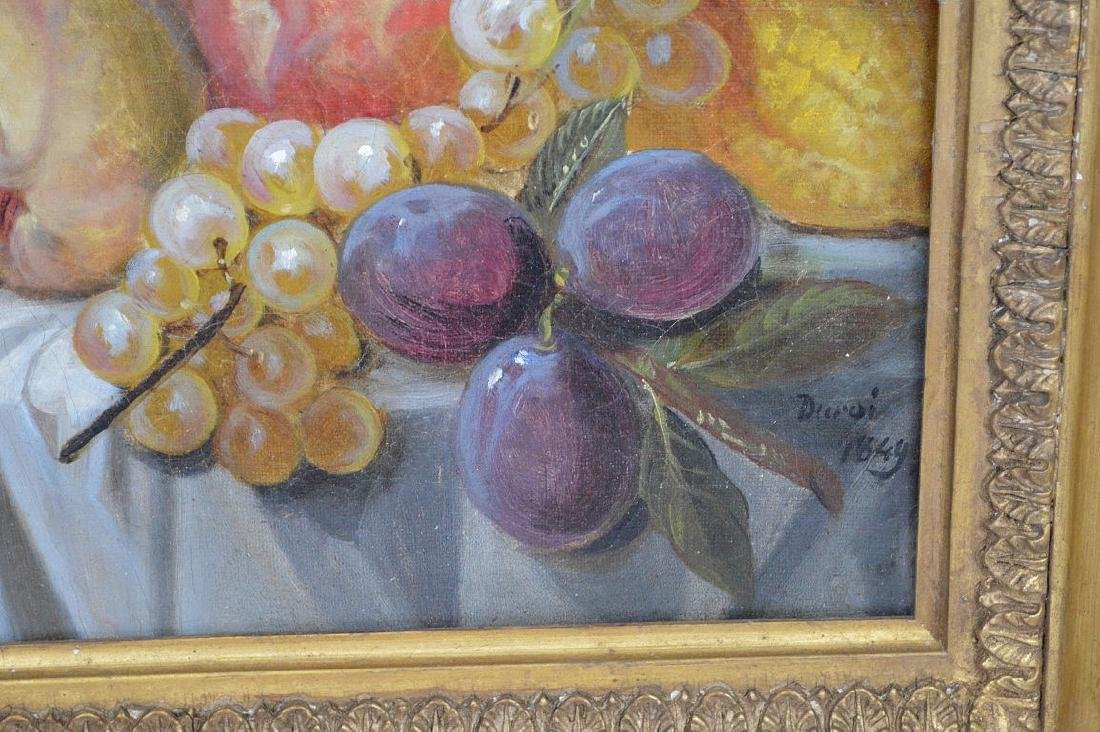 Still life painting by Durai, dated 1849, 16 x 13 - 4