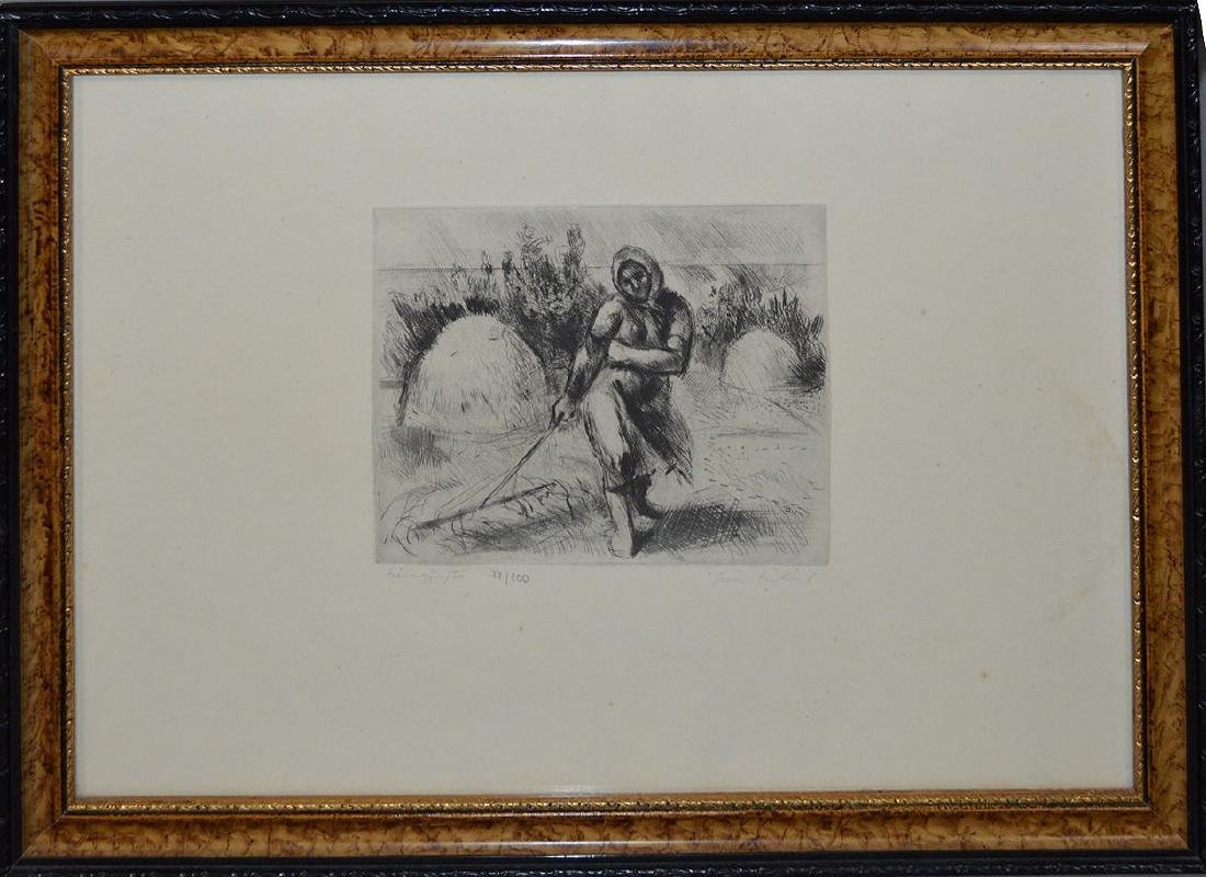Fine Etching of Woman Working the Field. Signed LR and