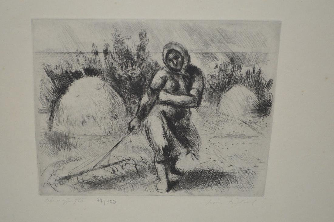 Fine Etching of Woman Working the Field. Signed LR and - 2
