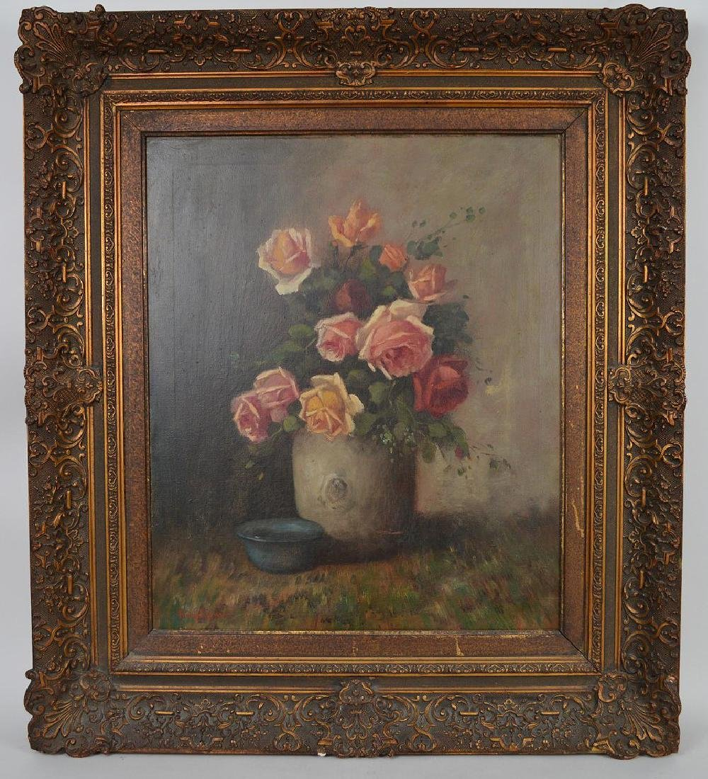 Heyliggers Still life Flowers, oil on canvas, 23 x 19