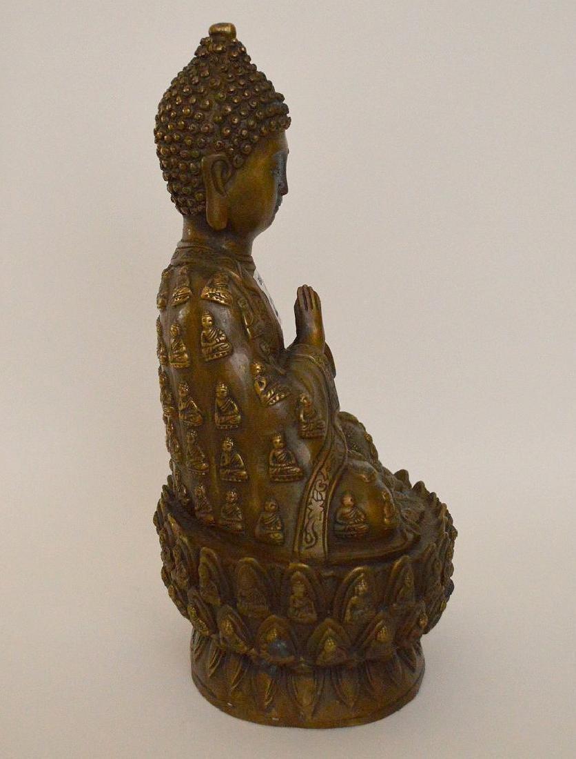 """Bronze buddha, 11""""h - 5"""
