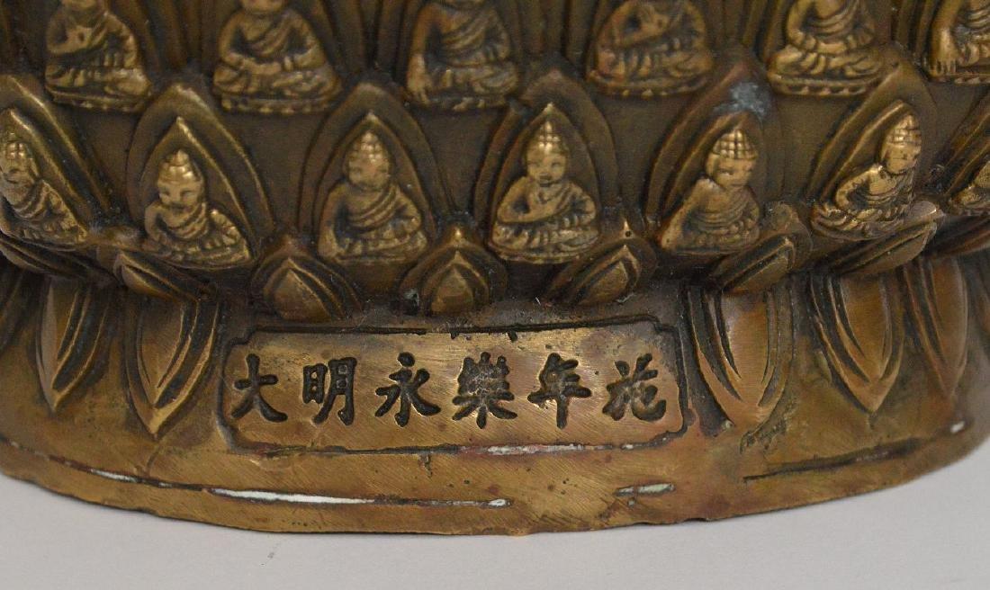 """Bronze buddha, 11""""h - 8"""