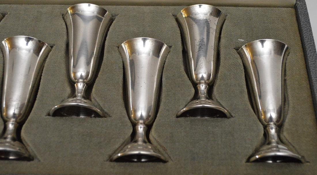 """8 sterling cordials in box, 3""""h - 3"""