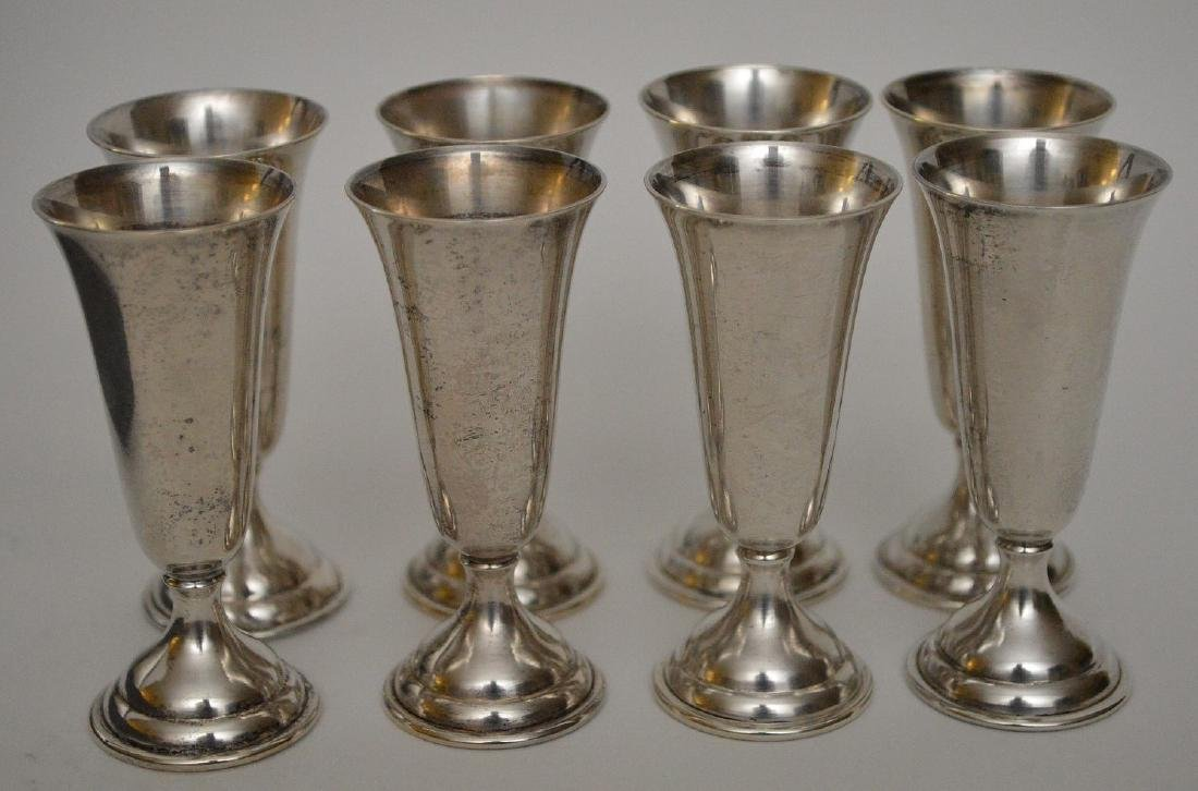 """8 sterling cordials in box, 3""""h - 4"""