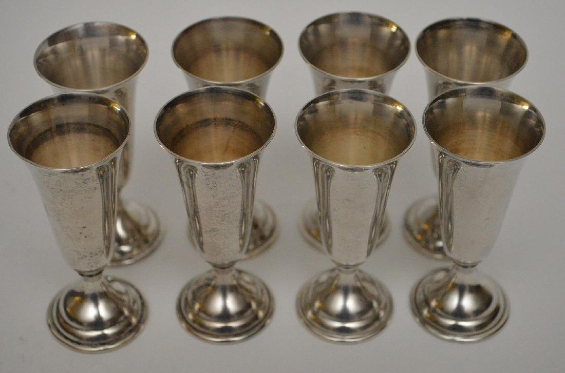 """8 sterling cordials in box, 3""""h - 5"""