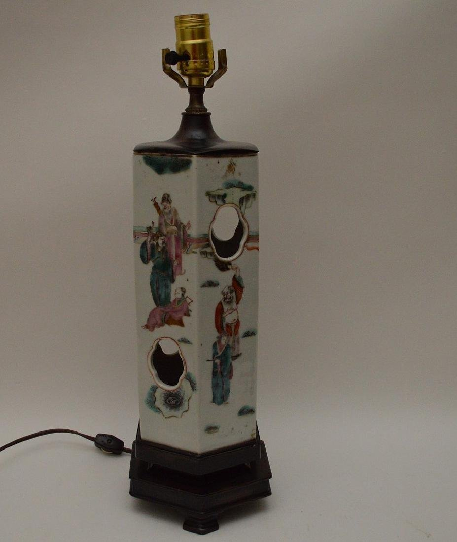 """6 sided Chinese porcelain panel lamp, 17""""h"""