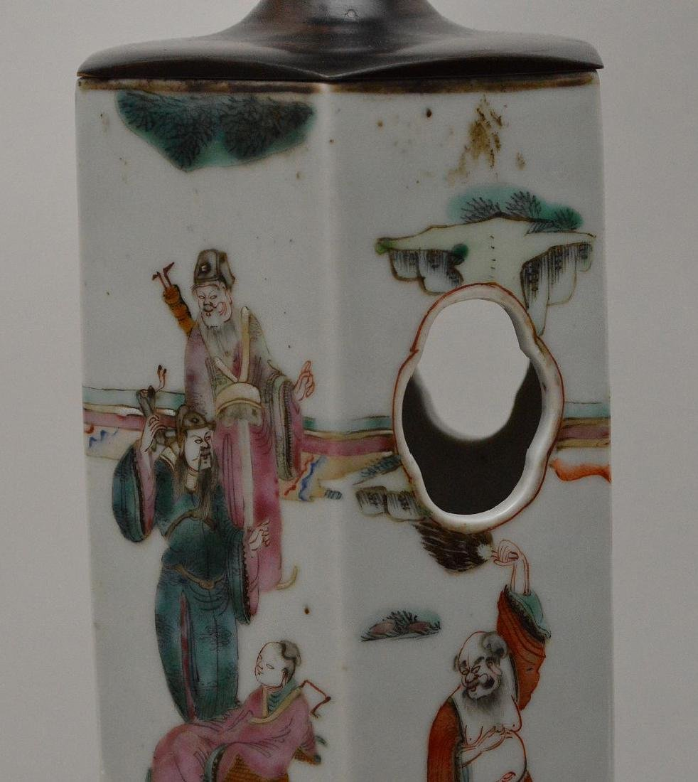 """6 sided Chinese porcelain panel lamp, 17""""h - 2"""